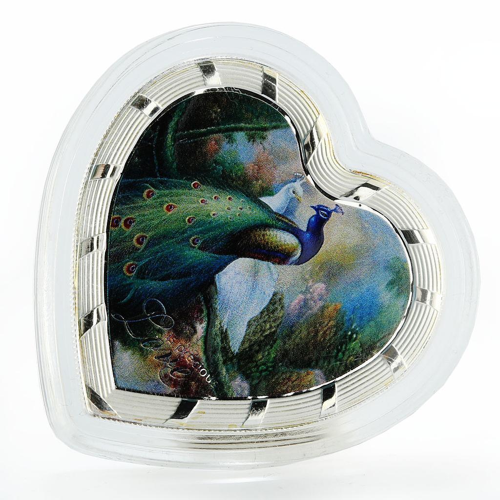 Tanzania 1000 shillings  2014 Love is precious  Peacocks Bird  Silver 1 oz Box